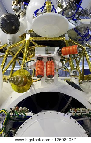 Spaceship module, orbital spacecraft with satellite, solar panel and opened hatch, modern aerospace industry
