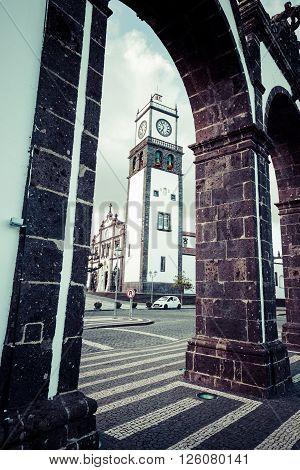 Ponta Delgada Azores Portugal - April 20 2015: Portas da Cidade- historic entrance to the town of Ponta Delgada on Sao Miguel island Azores
