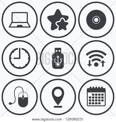 Clock, wifi and stars icons. Notebook pc and Usb flash drive stick icons. Computer mouse and CD or DVD sign symbols. Calendar symbol.