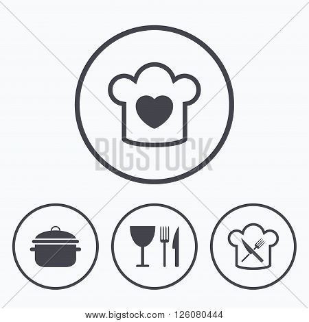 Chief hat with heart and cooking pan icons. Crosswise fork and knife signs. Boil or stew food symbol. Icons in circles.