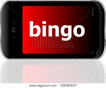 smart phone with bingo word isolated on white