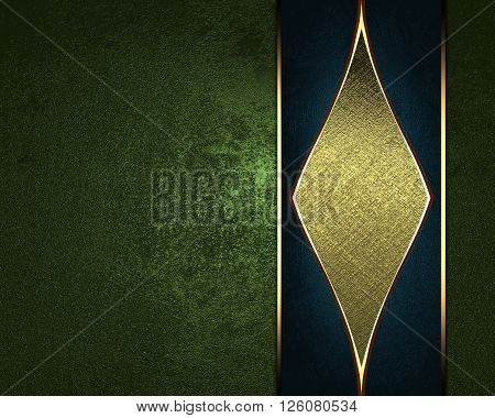 Grunge Green Background With A Gold Ornament. Template For Design. Copy Space For Ad Brochure Or Ann