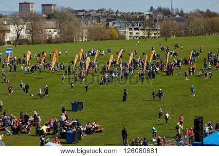 EDINBURGH â?? APRIL 17: Meeting point at 10 mile Great Edinburgh Run in Holyrood Park, April 17, 2016 in Edinburgh, UK
