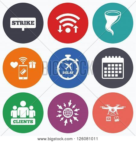 Wifi, mobile payments and drones icons. Strike icon. Storm bad weather and group of people signs. Delayed flight symbol. Calendar symbol.