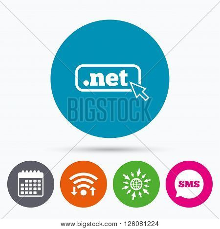 Wifi, Sms and calendar icons. Domain NET sign icon. Top-level internet domain symbol with cursor pointer. Go to web globe.