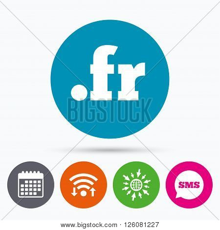 Wifi, Sms and calendar icons. Domain FR sign icon. Top-level internet domain symbol. Go to web globe.