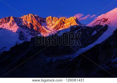 Scenic view of Kanchenjunga peak at sunset , Himalayas, Nepal.