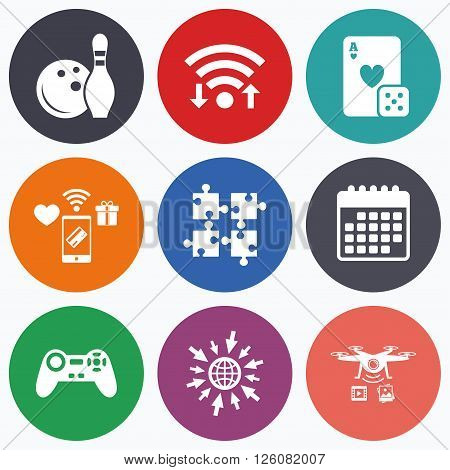 Wifi, mobile payments and drones icons. Bowling and Casino icons. Video game joystick and playing card with puzzles pieces symbols. Entertainment signs. Calendar symbol.
