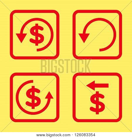 Chargeback vector icon. Image style is a flat icon symbol inside a square rounded frame, red color, yellow background.