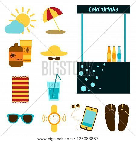 Set of objects for recreation on the beach. Vector illustration Summer holiday. Set for rest on the beach. Hat, sunglasses, umbrella, sunscreen, water, watch, player, blanket, flip-flops. Flat design
