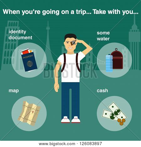 Traveler. Necessary items in traveling. Vector illustration Poster set of equipment for a good travel. Tourist with camera in hand. Hiking man. Passport, document, cash, map, water, backpack