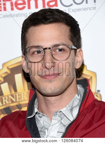 LOS ANGELES - APR 12:  Andy Samberg arrives to the CinemaCon 2016: Warner Bros.