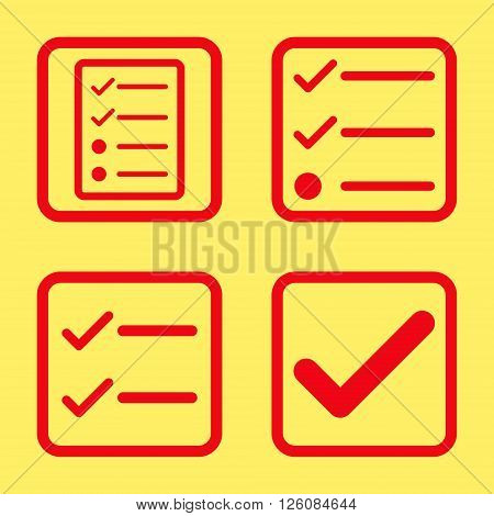 Valid vector icon. Image style is a flat icon symbol inside a square rounded frame, red color, yellow background.