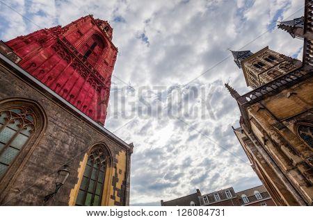 St. Johns and St. Servatius at Vrijthof Square in Maastricht Netherlands