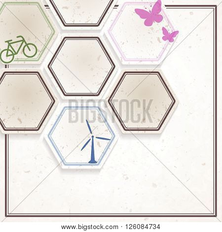 Off-white paper texture environmental design with hexagons. Graphics are grouped and in several layers for easy editing. The file can be scaled to any size.