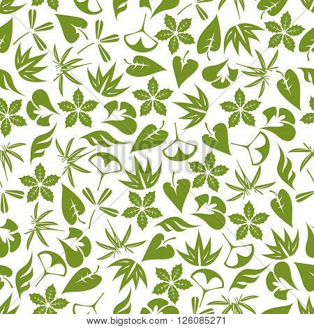 Retro seamless foliage pattern with pale green leaves of aloe vera, bamboo, clover, exotic palms, ginkgo biloba and christmas poinsettia over white background. Great for fabric, wallpaper, nature backdrop design