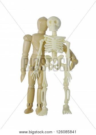 Person standing next to a skeleton - path included