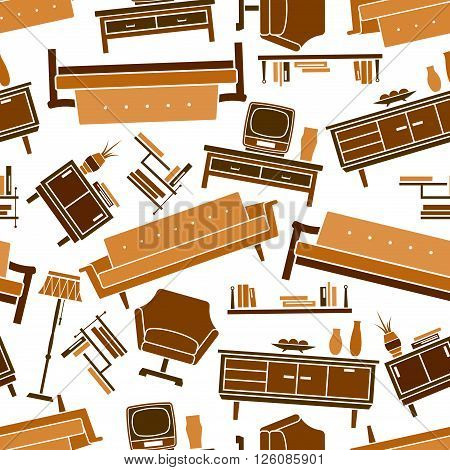 Interior of living room seamless pattern in shades of brown and yellow colors with flat couches, bookshelves, armchairs and chests of drawers with tv sets and decorative accessories over white background