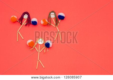 Cheerleader buttonhead stick figure girls orange and purple pompoms