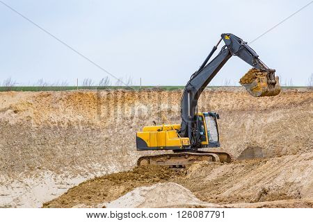 Excavator Working On The Construction Site