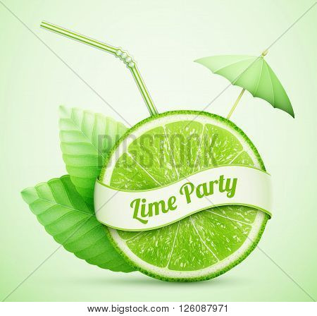 fresh lime with ribbon and cocktail stick eps10 vector illustration