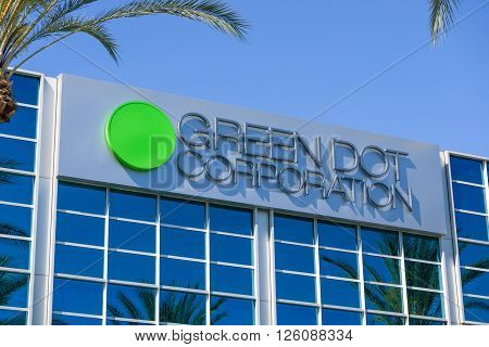 PASADENA CA/USA - APRIL 16 2016: Green Dot Corporation corporate headquarters. Green Dot Corporation is an issuer of prepaid MasterCard and Visa cards in the United States.
