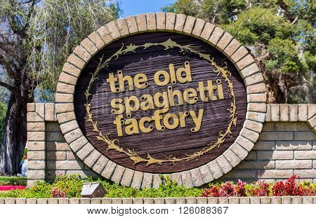 MONROVIA CA/USA - APRIL 16 2016: The Old Spaghetti Factory sign and logo. The Old Spaghetti Factory is an Italian-style chain restaurant.