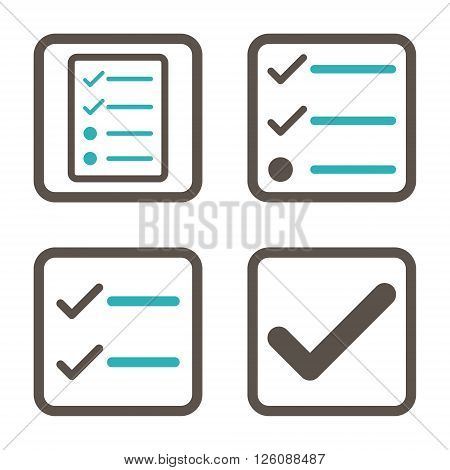 Valid vector bicolor icon. Image style is a flat icon symbol inside a square rounded frame, grey and cyan colors, white background.