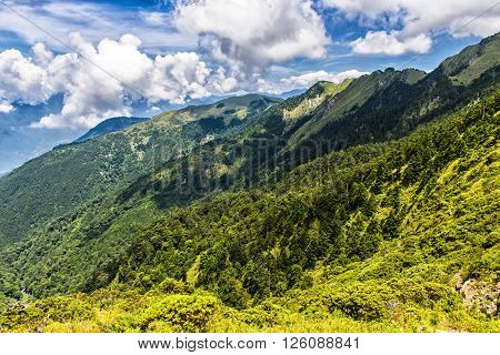Scenic of Mountain on heaven above the ground. Good background for you to put text or people on the ground.