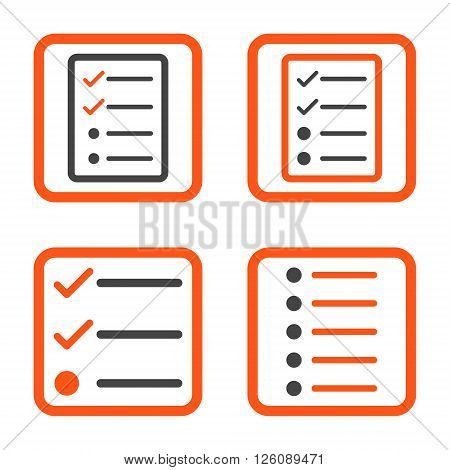List Items vector bicolor icon. Image style is a flat icon symbol inside a square rounded frame, orange and gray colors, white background.