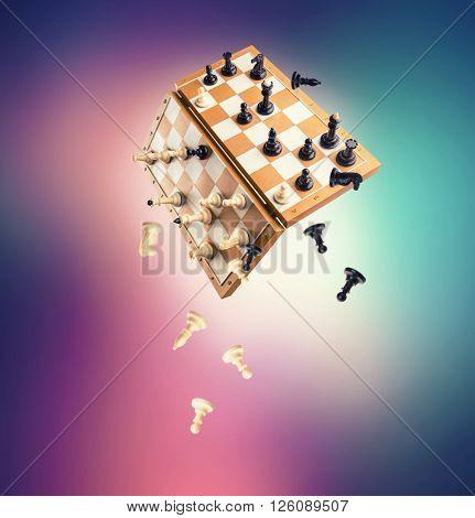 Chessmen falling