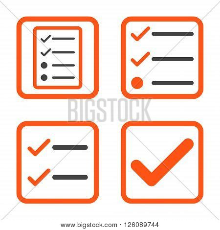 Valid vector bicolor icon. Image style is a flat icon symbol inside a square rounded frame, orange and gray colors, white background.