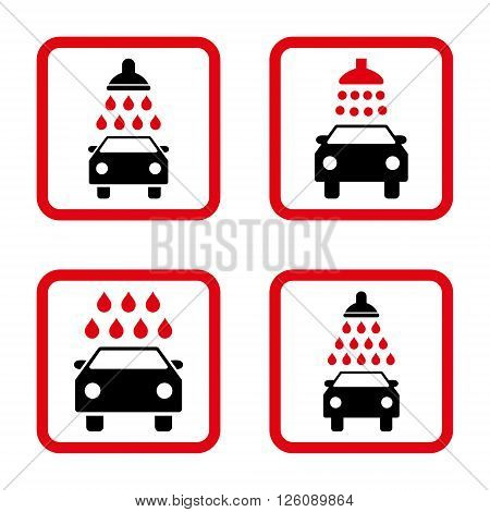 Carwash vector bicolor icon. Image style is a flat icon symbol inside a square rounded frame, intensive red and black colors, white background.