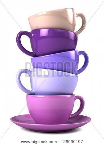 Stack of colorful coffee cups isolated on white