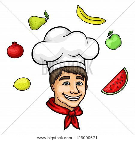 Attractive young chef cartoon character, wearing white cook hat and red neckerchief, with summer fresh apple, pear, banana, lemon, pomegranate and watermelon fruits above head. May be used as restaurant symbol, menu decoration element or farm market desig