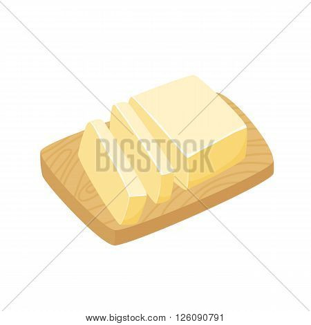 Butter stick. Sliced Margarine block. Baking ingredient butter or margarine stick. Butter vector illustration. Butter on a cutting board. Food for breakfast.