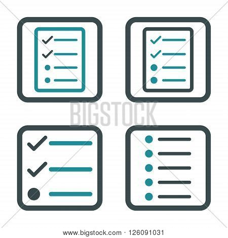 List Items vector bicolor icon. Image style is a flat icon symbol inside a square rounded frame, soft blue colors, white background.