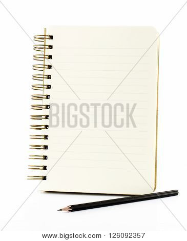 Line Paper Notebook With Black Pencil Isolated On White Background