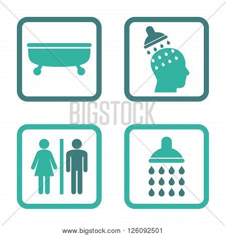 Sanitary vector bicolor icon. Image style is a flat icon symbol inside a square rounded frame, cobalt and cyan colors, white background.