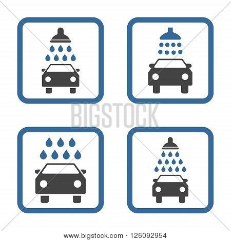 Carwash vector bicolor icon. Image style is a flat icon symbol inside a square rounded frame, cobalt and gray colors, white background.