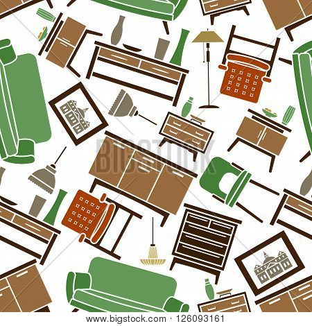 Retro flat interior design elements and pieces of furniture seamless pattern with green sofas, chairs, orange armchairs, wooden chests of drawers and nightstands with vases, lamps and pictures over white background