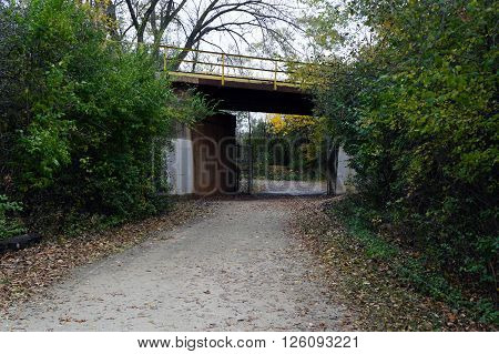 A footpath in the Lake Renwick Heron Rookery Nature Preserve in Plainfield, Illinois goes under a railroad bridge.