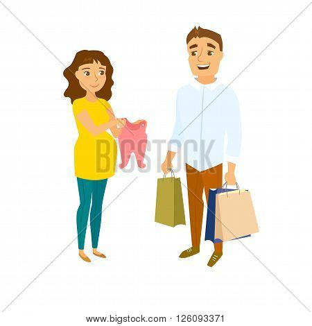 Pregnant couple shopping. Pregnant women and men in shop. Pregnancy buyer. Happy family couple expecting baby and shopping. Future parent shopping. Pregnant mom show clothes and her husband holding bags