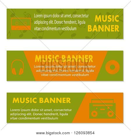 Advertising musical banners with tape, tape recorder and  headphones, vector illustration