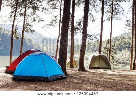 Tents of travelers in camping site near lake