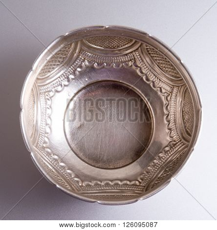 top view of Old antique brass bowl