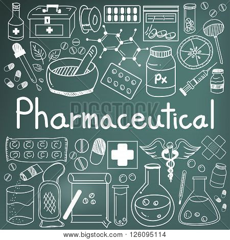pharmaceutical and pharmacist doodle icons in blackboard background, create by vector