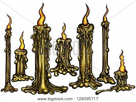 Illustration seven eerie spooky fantasy lighted candles