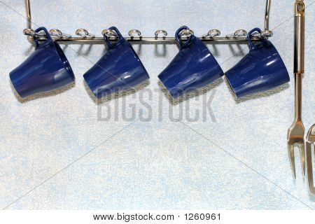 Four Dark Blue Cups