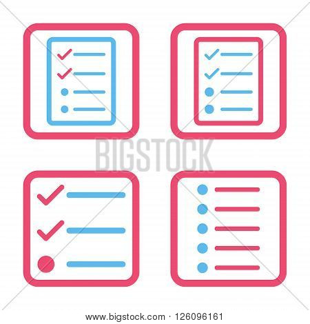 List Items vector bicolor icon. Image style is a flat icon symbol inside a square rounded frame, pink and blue colors, white background.